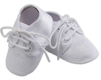 White Boys Baptism Shoe with Cross (KSB-137)