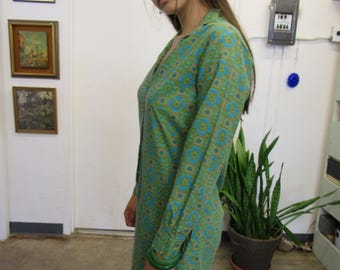Retro Funky Green and Blue Cotton Shirt Dress Size M
