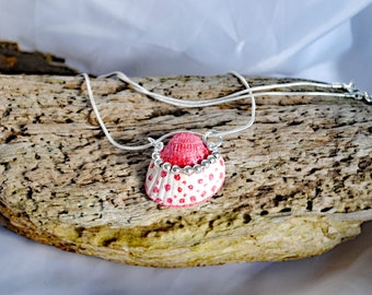 Red hand painted shell wire work and silver  necklace