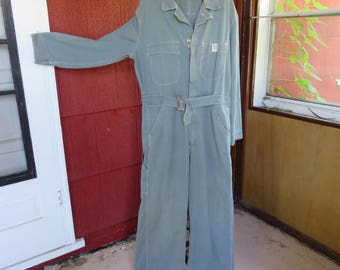 Vintage 1940s 1950s Hercules Nation Alls mechanic coveralls gray cotton (52917)