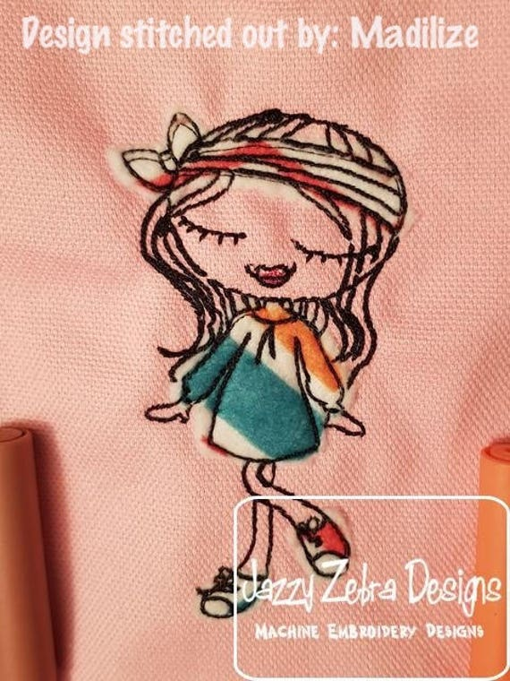 Swirly girl 2 scrappy appliqué embroidery design - girl appliqué design - scrappy appliqué design - girl embroidery design - sketch design