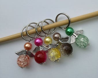 Knitting Stitch Markers ~ Set of 5 Colourful Angels ~ Knitting Notions