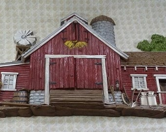 3D Country Red Barn Farm scene Wall Hanging Burwood 587
