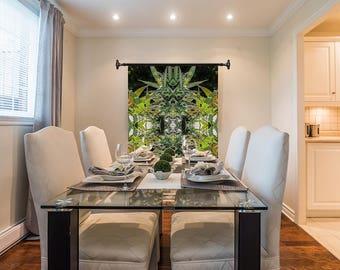 Marijuanna Art, Blueberry Cannabis Wall Art, Exotic Plant Art,Kaleidoscope Art Prints, Tropical Wall Art Fabric, Large Botanical Print