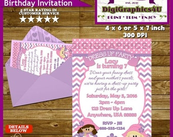 Dress Up, Dress-up Birthday Party Invitation for Girl's - Personalized Printable File