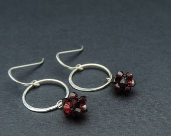 Sterling Silver And Red Dangle Earrings, Red And Silver Open Circle Earrings, Small Silver Circle Dangle Earrings, Heather Downes Jewelry