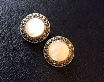 Marcasite and mother of pearl clip on earrings