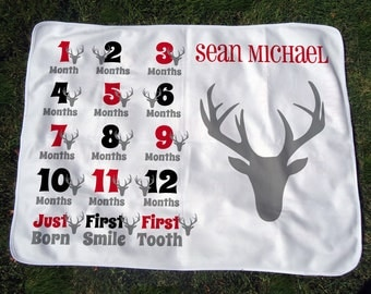Personalized Monthly Baby Blanket with Deer - Deer Head Growth Chart Blanket - Baby Month Blanket - Baby Photo Prop - Baby Shower Gift