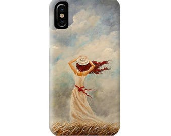 Lady in the Wind cell phone case for iPhone, iPhone 6, iPhone 7, 8, X, Plus. Mermaid art by Nancy Quiaoit