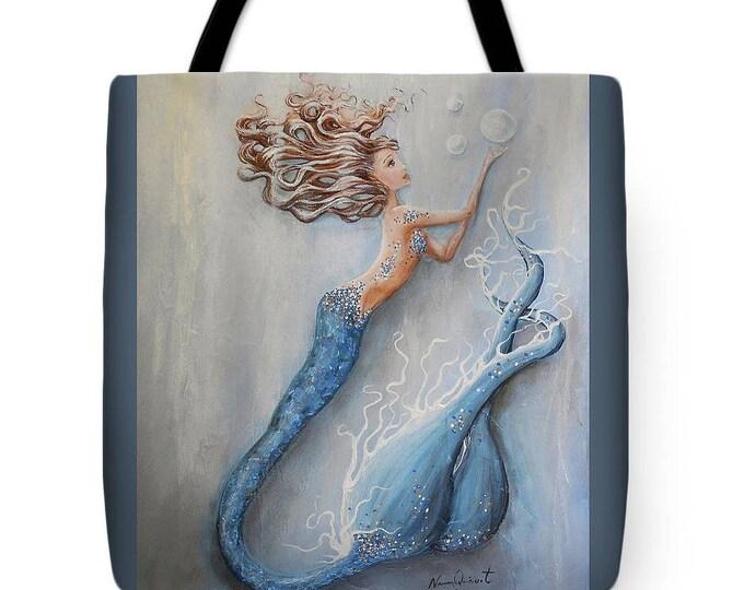 Mermaid tote bag, blue mermaid purse,  mermaid beach tote, original painting by Nancy Quiaoit