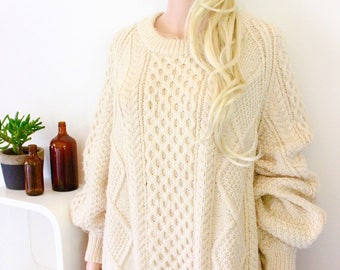 vintage handmade jumper knitted knit vintage pull over sweater oversized XXL XL chunky cable knit big size