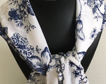 Blue & White Roses Organza scarf with hand rolled hem.