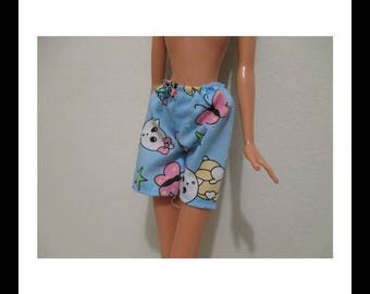 Barbie Doll Clothing vintage blue boxer style shorts with cute cats