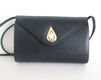 Navy Blue Structured Purse Reptile Embossed Cross Body Shoulder Bag Boxy Style By Rush Hour