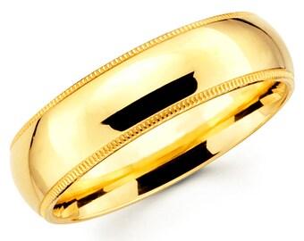 14K Solid Yellow Gold 6mm Milgrain High Polish Comfort Fit Wedding Band Ring