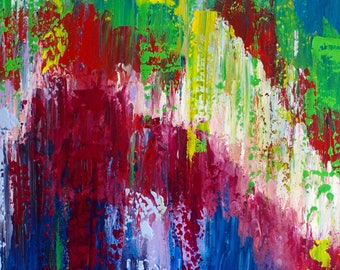 "Original Large Abstract Modern Textured COLOURFUL Painting on Box Canvas Ready to Hang by Jeanette James-Monk 36"" x 24"" ~ 90x60cm"