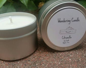 Citronella Soy Candle Tin 4 Ounces - Bug Repelling Candle- Lemongrass  Candle - Hand Poured Candle - Summer Candle