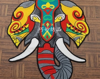 Elephant embroidered applique patch Vintage large patch Clothing decoration patch