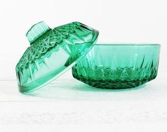 French Green Candy Dish Vintage, Sugar Box, Glass Bowl, Retro Glass Dish, Emerald Green Glass,  Arcoroc Bowl, Green Glassware, E739