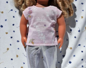 Cute 18 inch doll t-shirt in pink flower print and silver leggings