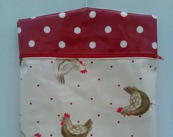 Handmade Oilcloth Peg Bag Henrietta Hen & Polkadot Chicken Poultry Farmyard Kitsch Utiltity Spotty Dotty Polka