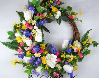 Spring Floral Grapevine Wreath, Spring Wreath, Floral Wreath