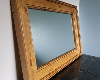 Reclaimed Knotty Pine Mirror Frame - 36 x 24 Outside Dimensions - Handcrafted out of Knotty Pine