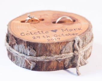 Wood wedding decor etsy rustic ring bearer pillow wedding wood slice rustic ring box birch wedding decoration junglespirit Gallery