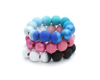 Ombre Hand Painted Wood Bead Bracelet - Ombre Collection