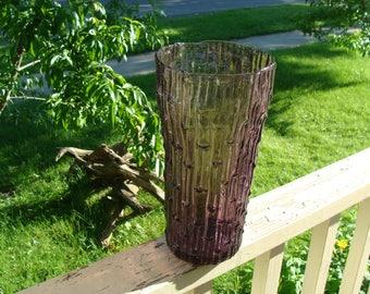 Large Mid Century Modern Art Glass Amethyst Bamboo Textured Vase Purple Empoli Murano Husted Blenko Type circa 1950's