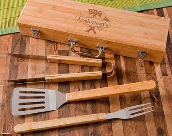 Personalized BBQ Grilling Set with Bamboo Case - BBQ Grilling Tools - Monogrammed Grilling Set - Groomsmen Gifts - Gifts for Him - GC1477