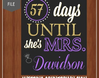 Purple and Gold Wedding Countdown Sign - Bridal Shower Sign - Bridal Shower Countdown - Wedding Shower Decor - Countdown - Days Until
