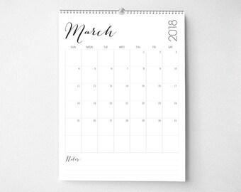 2018 Monthly Wall Calendar, 8.5x11, Wall Calendar, Modern Gifts for Her  (cal0055)