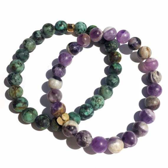 SPECIAL EDITION Honesty and Clarity stack: Matte Turquoise and Amethyst beaded  Bracelet 8mm, gemstone, mala, marble, Meditation, Yoga