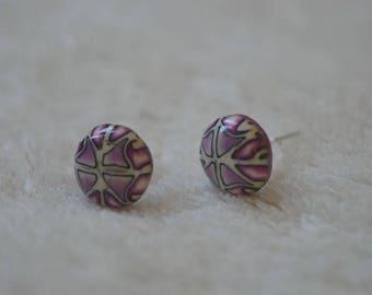Studs/posts / studs - fimo / polymer - pink, purple, white - geometric