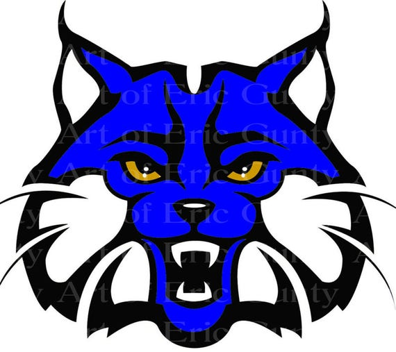 Blue Bobcat Wildcat Mascot Birthday - Edible Cake and Cupcake Topper For Birthday's and Parties! - D22737