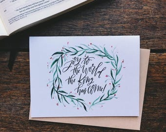 ON SALE Christmas card, joy to the world the king has come, Christian Christmas card, scripture card, traditional Christmas card