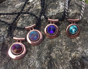 Swarovski 14 mm Rivoli Rose Gold Pendant Statement Necklace- your choice of colors
