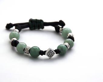 Celtic Bracelet, Beaded Celtic Bracelet, Celtic Jewelry, Green Beaded Bracelet, Celtic Charm, Cord Bracelet, Irish Jewelry, Irish Bracelet