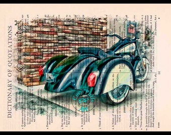 Black-Cream Indian Trike Motorcycle Art - Vintage Dictionary Page Book Art Print Unique Upcycled Page Art Collage Art, Drawing