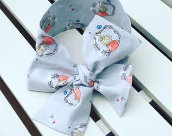 Girl's Headwrap Big Bow Cotton Headband in grey and red Peter Rabbit Flopsy Bunny quality cotton fabric