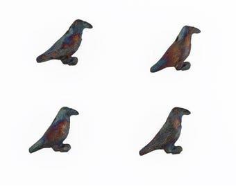 Matte Raku Multicolor Ceramic 3-D Raven Beads