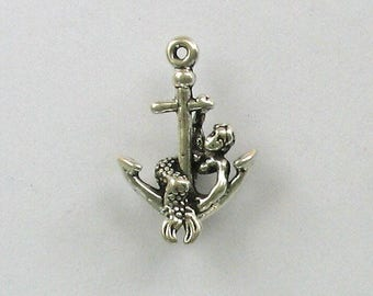 Sterling Silver 3-D Mermaid on Anchor Charm
