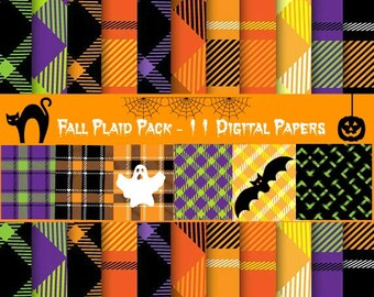 Plaid Digital 11 Paper Pack Fall Plaid Seamless Patterns Papers Fall Colors Plaid Gift Wrap Plaid Scrapbook Plaid Blog Background Wallpaper