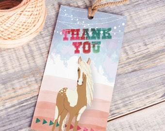 Printable Thank You Horse Tags | Instant Download PDF | Printable Favor Tags | Cowgirl Thank You | Thank You Hang Tag | Watercolor Tag