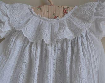 Antique Irish Broderie Anglaise Christening Gown early 1900s