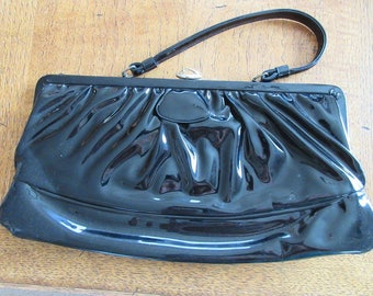 Vintage 1960's Black Patent Leather Handbag With Red Interior - Lovely!!