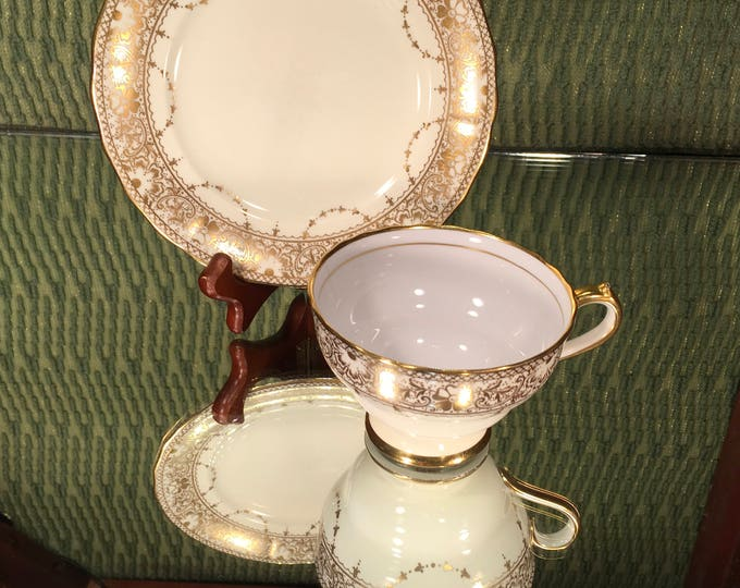 Gold Spode Copeland China Tea Cup and Saucer, English, Floral