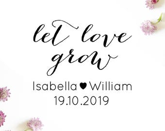 "Custom LET LOVE GROW stamp, personalised wedding stamp, card stamp, invitation stamp, swing tags stamp, wedding stationery, 1.6""x1.8 (cts58)"