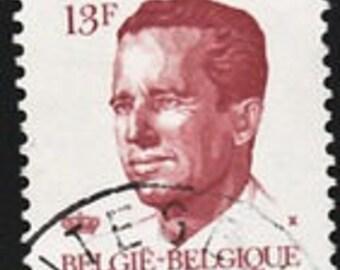 Belgium King Baudoin 13f Stamp, 1986, Scott #2719, Lot of 25 canceled, good shape, Vintage